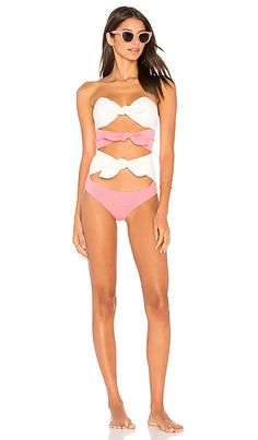 76e9a98fc2d88 Shop for Lisa Marie Fernandez Triple Poppy One Piece in Pink   Cream Crepe  at REVOLVE.