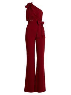 Elie Saab One-Shoulder Lace-Panel Flared Jumpsuit In Scarlet-Red One Shoulder Jumpsuit, Jumpsuit With Sleeves, Jumpsuit Elegante, Elie Saab, Fall Dresses, Chiffon Dresses, Long Dresses, Prom Dresses, Girl Clothing