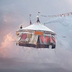 Laurent Chéhère, Flying Houses – Cirque, 2012 © Courtesy of the artist and Galerie Paris-Beijing Concours Photo, Night Circus, Photocollage, French Photographers, Belle Photo, Fairy Tales, Art Photography, Carnival Photography, Concept Photography