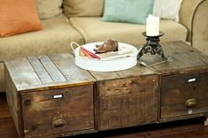 DIY Rustic Coffee Table would be great in the living room!