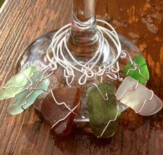 Seaglass Wine Glass Charms   on Etsy, $20.00