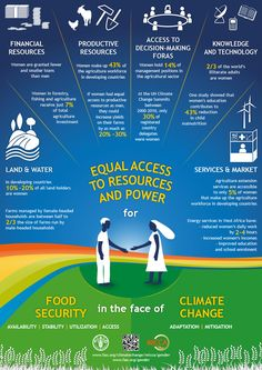 Equal access to resources and power for food security in the face of climate change. The infographic describes the links between food security, gender and climate change.