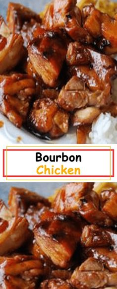 A copycat recipe for the bourbon chicken served at many food court Chinese restaurants. This may not be authentic Chinese food, but it is . Bourban Chicken, Burbon Chicken Recipe, Sauce For Chicken, Chicken Flavors, Chicken Recipes, The Best Bourbon Chicken Recipe, Lemon Chicken, Potato Recipes, Recipes
