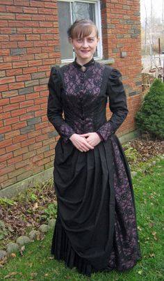 Mourning Bustle Dress, front view by Joy Dingman, made in the Victorian Bustle Day Dress Class at HistoricalSewing.com
