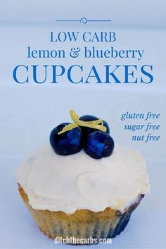 Beautiful and simple recipe for healthy low-carb blueberry cupcakes - that are also sugar free, nut free, gluten free, and grain free. #sugarfree #glutenfree #keto #lowcarb #lchf | ditchthecarbs.com