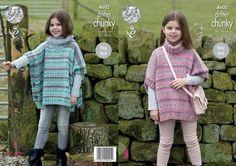 King Cole Girls Ponchos Drifter Knitting Pattern 4602 Chunky (KCP-4602) | eBay