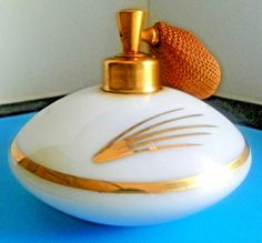 Vintage De Vilbiss Hand Blown Glass Perfume Bottle Atomizer White w/Gold Accents…