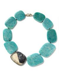 Fossilized Walrus Ivory and Blue Fossilized Wolly Mammoth Necklace                  -                                Monique Pean                  -                                Designers                                              - Ylang 23