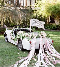 How cute is this wedding car? #weddinginspo #bridalcar
