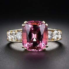 4.43 Carat Pink Tourmaline and Diamond Ring