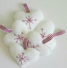 Pack white felt heart christmas holiday decorations,free…