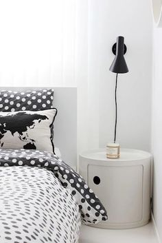 The Arne Jacobsen wall light in black and the Componibili round Bedroom Black, Bedroom Modern, My New Room, Interiores Design, Interior Inspiration, Bedroom Decor, Bedroom Bed, Bed Room, Interior Decorating