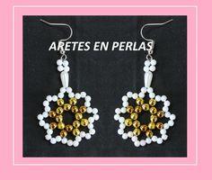 ARETES EN PERLAS//mostacilla, canutillo,perlas de colores