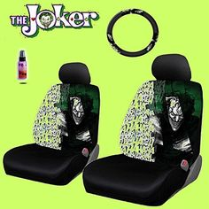 New Design 6 Pieces DC Comic Joker Car Seat Covers and Steering Wheel Cover Set…