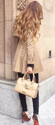 incredible outfit idea: nude coat + bag + skinny pants + animal printed heels