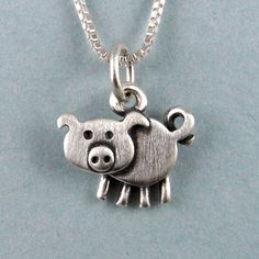Tiny pig necklace by StickManJewelry on Etsy This Little Piggy, Little Pigs, Pig Necklace, Pendant Necklace, Tiny Pigs, Jack Russell, Teacup Pigs, Cute Piggies, Animal Jewelry