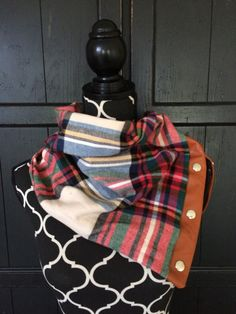 Flannel Plaid with Leather Snap Cowl  by KutKloth on Etsy