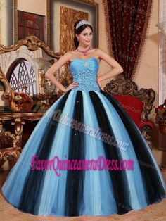 Special Style Teal and Black Tulle Taffeta Dress for Quince with Paillette