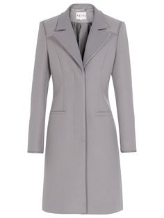 Reiss Covent Leather Collar Coat in Gray (Grey)