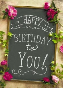 Echte kaarten maken & versturen - Verjaardagskaart vrouw - krijtbord omringd met bloemen