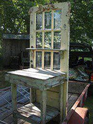Potting bench, best idea for an old glass door! Reclaim an antique or vintage door for your retro potting bench. This is a great idea and easy to do. Look for old doors and window frames at thrift stores, flea markets, salvage yards and estate sales. Habit For Humanity's Restore is another good place to look.