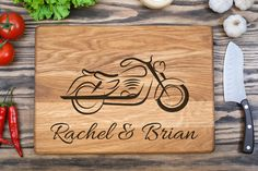 Bike, Cutting Board, Engagement Gift, Anniversary Gift, Engraved Wooden Chopping Block  Bike, Cutting Board This chopping board is the unique gift for any occasion. You can present it for an anniversary, birthday, Christmas, wedding or any other holiday. Besides you can make a gift to a loved one for no reason, just to make a pleasant surprise.  This gorgeous cutting board is made of only natural wood and purely food safe.