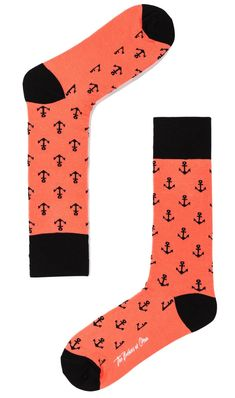 Peach Anchor Socks | Mens Sock | Men Wedding Socks | Groomsmen Colourful Animal & Polka Dot Design Socks | Men's Fashion Happy Socks for Guys | Gentleman Accessories | OTAA #Sock #Mens #Style #gentleman #menfashion #menstyle #meswear #OTAA #mensfashion #wedding #party #casual #peach #anchor