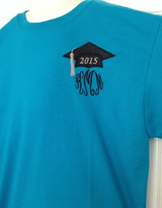 Great graduation gift 2015 senior shirt w Cap Hat personalized monogram monogrammed embroidered appliqué T-shirt Shirt high school college on Etsy, $15.00