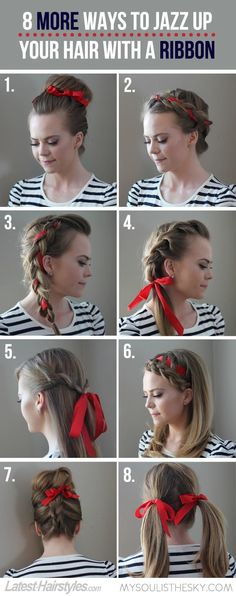 8 ways to jazz up your hair with a ribbon, perfect for the holidays!