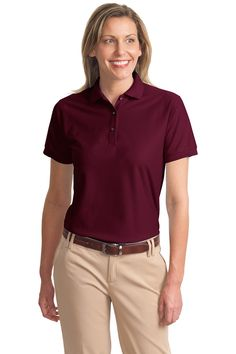 Port Authority Womens Classic Polo Sports Shirt burgundy Small