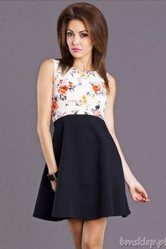 Rozkloszowana sukienka z górą w #kwiaty... #Sukienki - http://bmsklep.pl/emamoda-sukienka-czarny-krem--6804-3