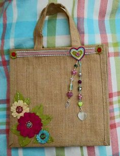 Items similar to RESERVED FOR J Junior Eco friendly Jute tote applique embroidered handbag /trendy / all to carry/ shopper/vacations / diapers on Etsy Hessian Bags, Jute Bags, Crochet Shell Stitch, Burlap Crafts, Handmade Purses, Crochet Handbags, Crochet Bags, Patchwork Bags, Fabric Bags