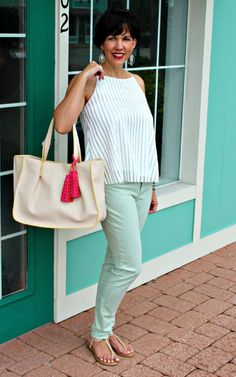 Minty Cool Jeans and a Breezy Top by @shelliebow