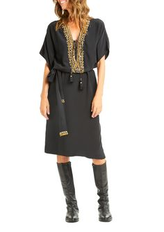 "<p>Crafted from silk crepe de chine, this elegant kaftan in onyx features a deep v-neck with front lace-up detail and tassel tie, intricate sequin and beaded embellishment, and matching self-tie belt. </p> <p>Sizing: Fits true to size. Model wears size x-small/small. Model's height is 5'11""; bust 36""; waist 28""; hips 34""</p>  <li>Made in India</li> <li>100% Silk CDC</li> <li>Dry clean</li>"