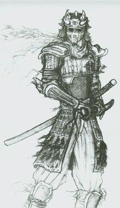 Dessin samoura homme avec chapeau samoura ninja - Dessin armure ...