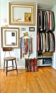 Community Post: 12 Creative Ways To Create Exposed Closet Space Tiny Closet, Closet Space, Open Closets, Small Closets, Open Wardrobes, Narrow Closet, Small Apartments, Small Spaces, Exposed Closet