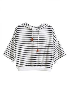 Shop White Striped Dropped Shoulder Seam Drawstring Hooded T-shirt online. SheIn offers White Striped Dropped Shoulder Seam Drawstring Hooded T-shirt & more to fit your fashionable needs. Beautiful Evening Gowns, Black And White Tops, White White, Girls Fashion Clothes, Outfit Combinations, Cute Casual Outfits, Look Fashion, Striped Tee, Shoulder Tops