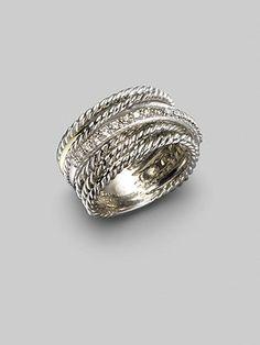 David Yurman Diamond, 14K White Gold & Sterling Silver Crossover Ring...love Yurman!