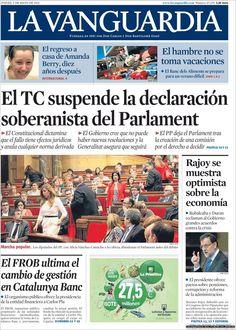 Los Titulares y Portadas de Noticias Destacadas Españolas del 9 de Mayo de 2013 del Diario La Vanguardia ¿Que le parecio esta Portada de este Diario Español?