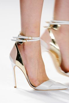 J. Mendel S/S 2013 shoes metallic strappy pointy toed heels
