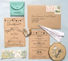 Our diy invitation using kraft paper and vintage fabric.