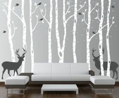 Birch Tree Wall Decal Forest with Birds and Deer Vinyl Sticker Removable Nursery | eBay