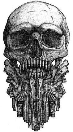 Skull with beard from various guns by DariusM1993... Reminds me of Phillip; Beard & Guns