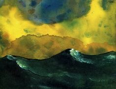 Emil Nolde, Green Sea, Intercepted by Gravitation Emil Nolde, Abstract Landscape, Landscape Paintings, Ludwig Meidner, Degenerate Art, Ernst Ludwig Kirchner, Oeuvre D'art, Illustration, Modern Art