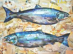 Two Salmon paper collage