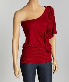 Love this Red Ruffle Asymmetrical Top by Casa Lee on #zulily! #zulilyfinds