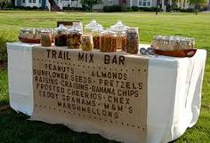 trail mix bar at wedding - Google Search cup, trail mix, wedding favors, food, rustic style, mix bar, camp party, parti, dried fruits