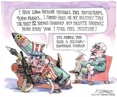 Forget Trump: The Military-Industrial Complex Is Still Running the Show With Russia Political Satire, Political Cartoons, Satirical Cartoons, Political Images, Political Views, Leiden, Bernie Sanders, Mon Budget, Excuse Moi