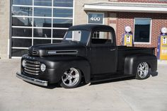 This 1950 Ford Pickup has a Fuel Injected 3 Speed Automatic Transmission, Custom Matte Black Paint, Black Leatherette Interior, Mustang II Front. 1948 Ford Truck, Old Ford Trucks, New Trucks, Cool Trucks, Bagged Trucks, Custom Trucks, Pickup Trucks For Sale, Classic Pickup Trucks, Ford Classic Cars