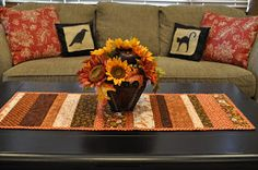 Does your coffee table need a little harvest magic?  I made this  Sweet and Simple Tablerunner  in a just a few hours, out of some of my fav...